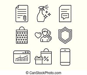 ウェブサイト, 統計量, 買い物, icons., 袋, 付属品, comments, 愛, セキュリティー, signs., 人