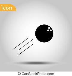 ウェブサイト, 網, ボール, 印。, 単純である, concept., 現代, ベクトル, シンボル, 写実的な 設計, ボタン, 背景, インターネット, 最新流行である, 黒, ボウリング, デザイン, アイコン