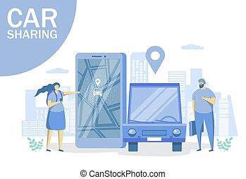 ウェブサイト, 網, 共有, 旗, 自動車, ベクトル, 概念, ページ