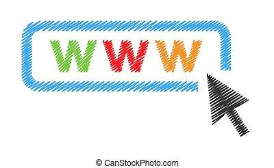ウェブサイト, 網, 動きなさい, カーソル, arrow., ベクトル, アイコン