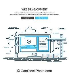 ウェブサイト, 網, 建物, プロセス, デザイン, 薄くなりなさい, 下に, 線, ページ, construction.