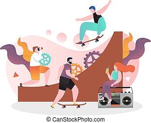 ウェブサイト, 網, 概念, 旗, ベクトル, skateboarding, ページ