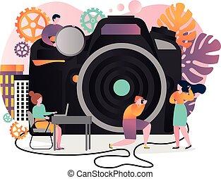 ウェブサイト, 網, 概念, 旗, 写真撮影, ベクトル, ページ