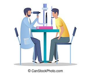 ウェブサイト, 網, 概念, 旗, 眼科学, ベクトル, 診断, ページ