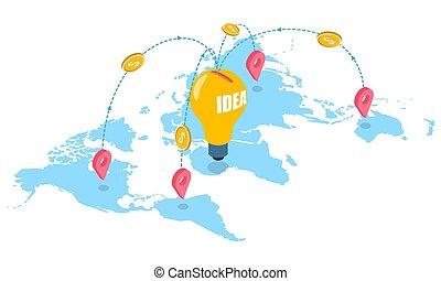 ウェブサイト, 網, 概念, 旗, crowdfunding, ベクトル, ページ