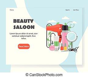 ウェブサイト, 美しさ, 着陸, ベクトル, デザイン, テンプレート, 大広間, ページ
