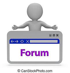 ウェブサイト, 表す, グループ, フォーラム, web ページ, 議論, レンダリング, 3d