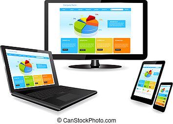 ウェブサイト, 装置, 多数, テンプレート