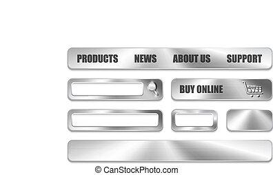 ウェブサイト, 要素, デザイン, 金属