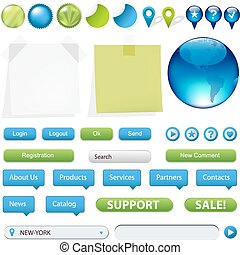ウェブサイト, 要素, ナビゲーション, コレクション, gps