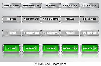 ウェブサイト, 要素, メニュー, 金属, デザイン, グロッシー, バー