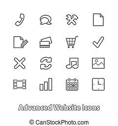 ウェブサイト, 買い物, セット, 平ら, アイコン, オンラインで, 輪郭
