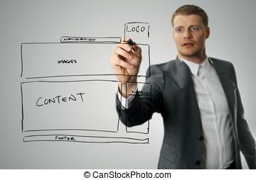 ウェブサイト, 開発, デザイナー, wireframe, 図画
