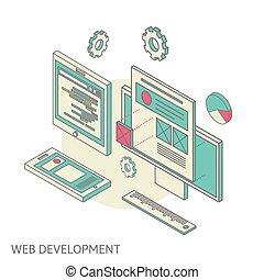ウェブサイト, 開発, モビール, デスクトップ, プロセス, デザイン