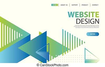 ウェブサイト, 開発, モビール, apps, 着陸, ページ, 形, バックグラウンド。, ベクトル, デザイン, イラスト, テンプレート, ui, 幾何学的, template.