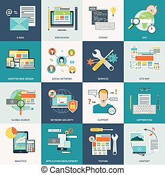 ウェブサイト, 開発, 概念アイコン