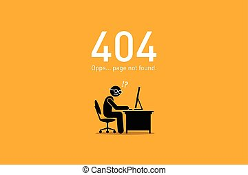 ウェブサイト, 間違い, ない, 404., found., ページ