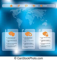 ウェブサイト, 青い背景, 抽象的なデザイン, テンプレート