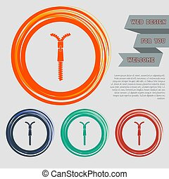 ウェブサイト, 青, ジッパー, スペース, text., ボタン, ベクトル, デザイン, オレンジ, 緑, 赤, あなたの, アイコン