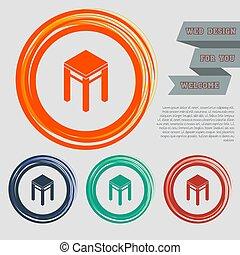 ウェブサイト, 青, スペース, text., アイコン, 腰掛け, ボタン, ベクトル, デザイン, オレンジ, 緑, あなたの, 赤