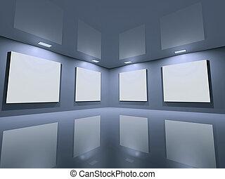 ウェブサイト, 青, -, 灰色, きれいにしなさい, ギャラリー