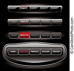 ウェブサイト, 黒, ボタン, バー, セット, テンプレート