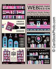 ウェブサイト, 1(人・つ), デザイン, 魅力的, テンプレート, ページ
