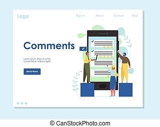 ウェブサイト, comments, ベクトル, デザイン, 着陸, テンプレート, ページ