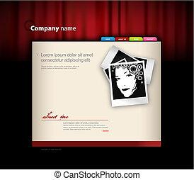 ウェブサイト, curtain., テンプレート, 赤