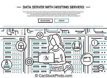 ウェブサイト, -, hosting, サーバー, ヘッダー, デザイン, 線, データ