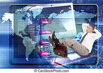 ウェブサイト, network., e- ビジネス, インターネット