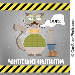 ウェブサイト, oopss., ガラス, セーター, 弓, ねこ, 情報通, カード, 下に, 踏鋤, テキスト, construction.