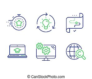 ウェブサイト, ??opyright, ターゲット, アイコン, set., タイマー, 考え, ベクトル, 道, インターナショナル, 教育, signs., 設定