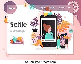 ウェブサイト, selfie, 着陸, ベクトル, デザイン, テンプレート, ページ