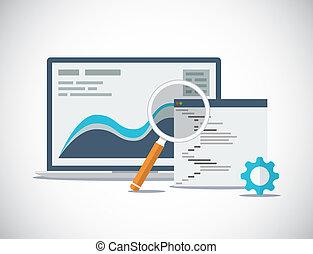 ウェブサイト, seo, 分析, そして, プロセス, fl