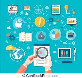 ウェブサイト, seo, analytics, チャート, 上に, スクリーン, の, pc
