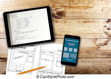 ウェブサイト, wireframe, スケッチ, そして, プログラミング, コード, 上に, デジタルタブレット