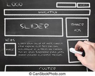 ウェブサイト, wireframe, スケッチ, 上に, 黒板