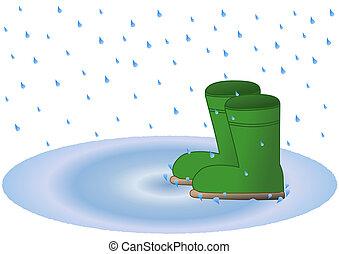 ウェリントンの ブーツ, 中に, 雨, 水たまり