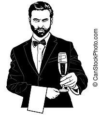 ウエーター, ガラス, シャンペン