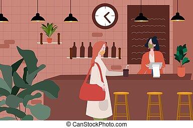 ウエーター, 平ら, マスク, pandemic, ウイルス, psychical, style., の間, 距離, キャッシャー, 漫画, ウエア, たくわえ, コロナ, 訪問者, カフェ, 顧客