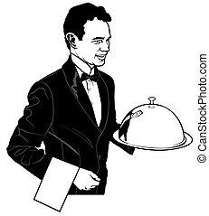 ウエーター, 皿, 届く, 本