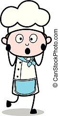 ウエーター, -, 衝撃を与えられた, シェフ, ベクトル, illustration?, 美顔術, マレ, 表現, 漫画