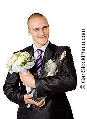 ウォッカ, 人, びん, 若い, 小さな花束, 婚約者