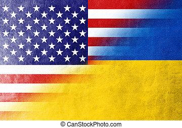 ウクライナ, アメリカ, ペイントされた, 手ざわり, 革, 旗