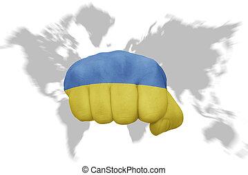 ウクライナ, 地図の背景, 国旗, 握りこぶし, 世界