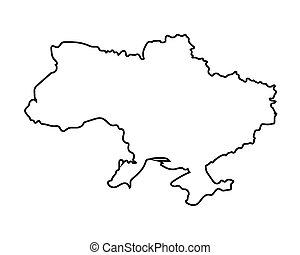 ウクライナ, 地図, 黒, アウトライン
