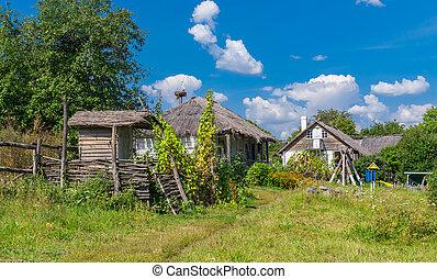 ウクライナ, 夏, 古代, 風景, farm-stead