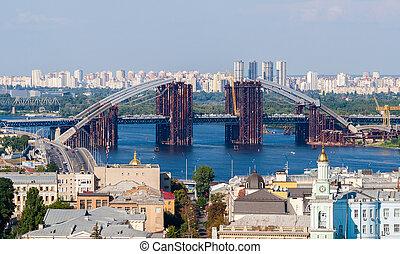 ウクライナ, 橋, dnieper., 上に, 建設, 新しい, kiev