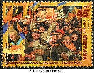 ウクライナ, 献身的, novem, protests, 2005:, 選挙, -, に対して, 装備された